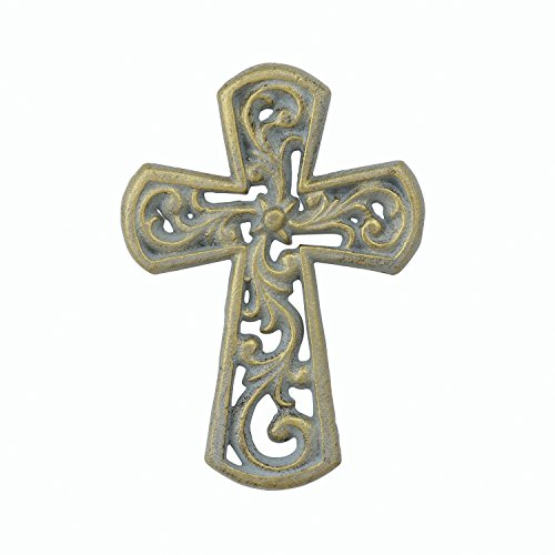 Stonebriar Decorative Small Pale Gold Floral Filigree Cast Iron Hanging Wall Cross, Rustic Religious Decor for the Living Room, Kitchen, Bedroom, and (Cast Iron Filigree)