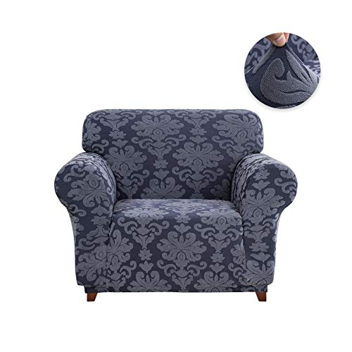 - CHUN YI 1-Piece Stretch Jacquard Damask Elegant Collection Sofa Slipcover Easy Fitted Couch Cover Stretchable Durable Furniture Protector (Chair, Grayish Blue)