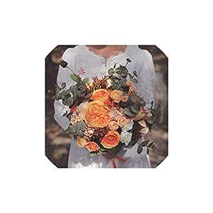 S-D-A Bride Bouquet Vintage Wedding Bouquets Orange Bridal Flowers Boho Artificial Silk Roses,Orange 78