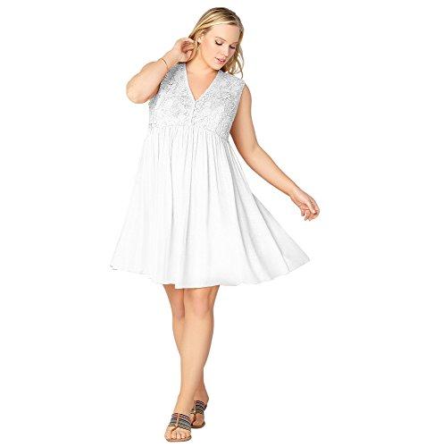 AVENUE Women's Crochet Bodice Babydoll Dress, 14/16 White