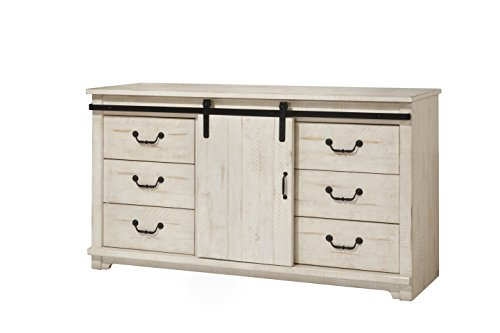 - Martin Svensson Home 6906706 Coastal Farmhouse Solid Wood 9 Drawer Dresser with Sliding Barn Door, Antique White