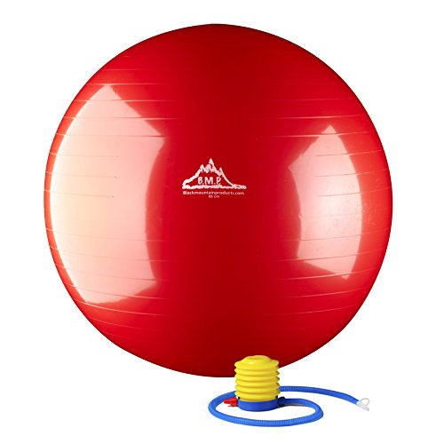 Black Mountain Products Static Strength Exercise Stability Ball with Pump, Red, 65cm/2000 lb