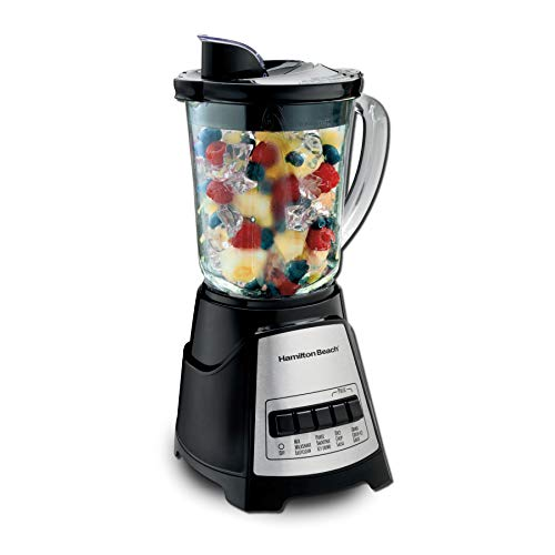 Hamilton Beach Power Elite Blender with 12 Functions for Puree, Ice Crush, Shakes and Smoothies and 40oz BPA Free Glass Jar, Black and Stainless Steel (58148A) from Hamilton Beach