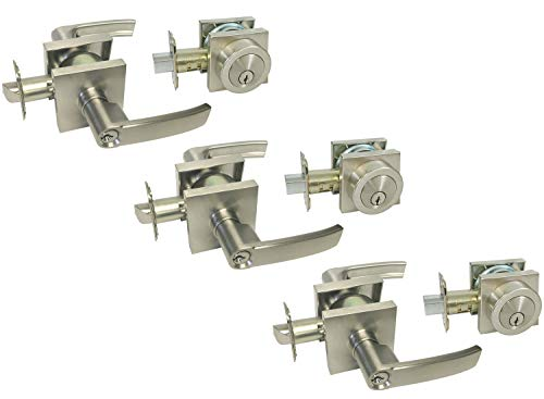 Satin Nickel Square Plate Entry Entrance keyed Levers with Matching Double Cylinder Deadbolts Combo Keyed Alike 8048DC (3 Set)