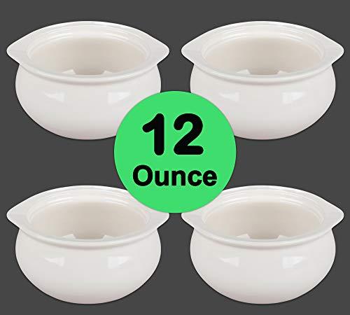 Porcelain Onion Soup Crock Bowl, Healthy Portion Size, 12 Ounce, Set of 4 (White)