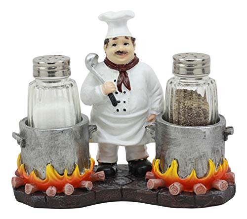 (Ebros Bouillon French Chef Jean with Flaming Double Cauldron Pots Salt and Pepper Shakers Holder Figurine for Kitchen Dining Table Hosting Spice Rack Accessories Gift Ideas for Women Men Chefs Cooks)