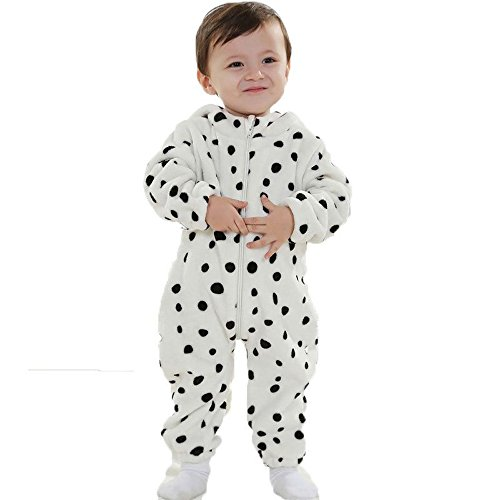 Tom_s Toddler Baby Rompers Animal Jumpsuit Autumn Winter Outfits Infant Hooded Flannel Costume (Snow Leopard(Thin), 90CM(13-22months)