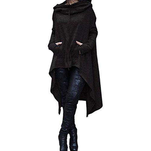 Xsayjia Pullover Felpa Cappuccio Donna Maniche Lunghe Bordo Irregolare Oversize Jumper Tops Casual Felpa Camicia Mini Vestito Autunno Inverno Black