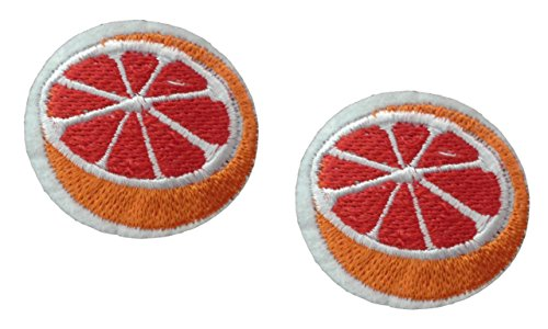 2 small pieces ORANGE Iron On Patch Fabric Applique Cut Tangerine Citrus Fruit Food Motif Children Decal 1.6 x 1.5 inches (4 x 3.8 cm)