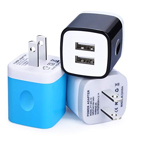USB Charger, 3-Pack 5V/2.1AMP Power Adapters 2-Port Fast Dual Port Travel Mobile Phone AC Adapter Portable Block Plug Compatible with Phone XS MAX/XR/X/8/7/Plus/6S/6/SE/5S/5C/Tablet (Assorted Colors) (Battery Charger For Mobile Devices Assorted Colors)