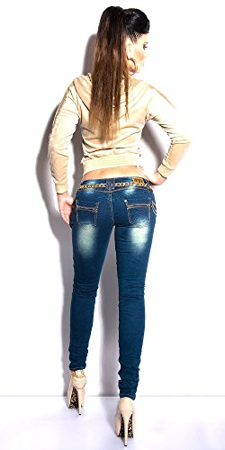 Stretch Borchie E Store Jeans Blue Denim Strass Blanco Pantalone Skinny Donna qa6Pw0t