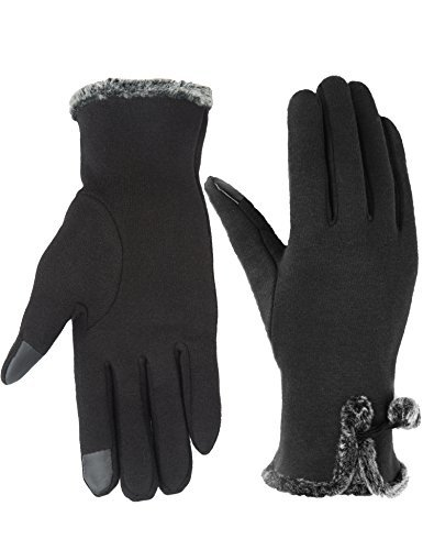 Women's Gloves Touch Screen Warm Winter Thick Gloves Fashion Texting Mittens Black Winter Gloves One Size