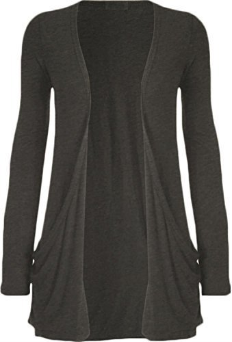 Hot Hanger Ladies Plus Size Pocket Long Sleeve Cardigan 16-26 – Small – 4-6, Charcoal Grey