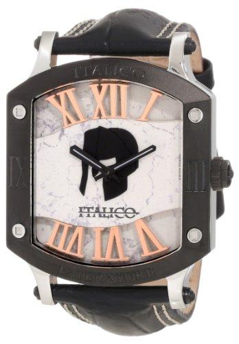 Italico Men's ITIP02-F Imperatore Tonneau Black IP Black Leather Watch