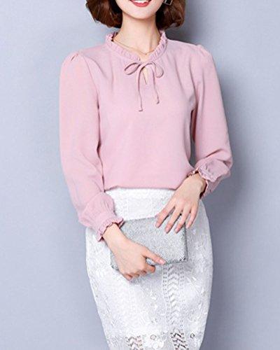 Mujer De Color Solido Tops Manga Larga Camisa Blusa Slim Casual Shirt Pink