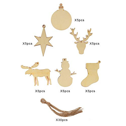Joy-Leo 3-4 Inch Christmas Ornaments Wood Cutouts (6 Patterns, 30 Units), Christmas Stockings & Reindeer & Star & Snowman & Balls & Reindeer Head for Crafts and Christmas Tree Decorations