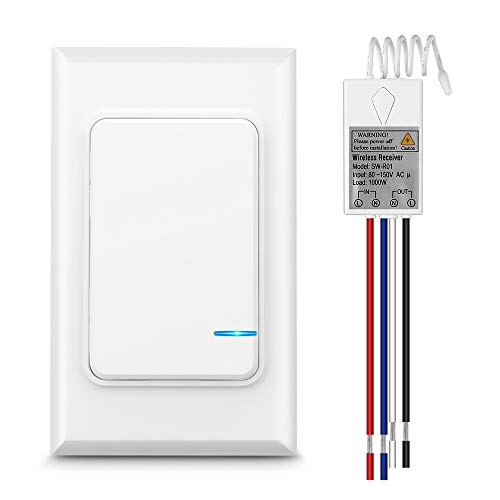 Wsdcam Wireless Light Switch And Receiver Kit No Wiring Wall Switch Remote Control Ceiling Lights Fans Lamps Bulbs Outdoor 1900ft Indoor 229ft Wireless Rf Range Ip66 Waterproof Remote Light Switch