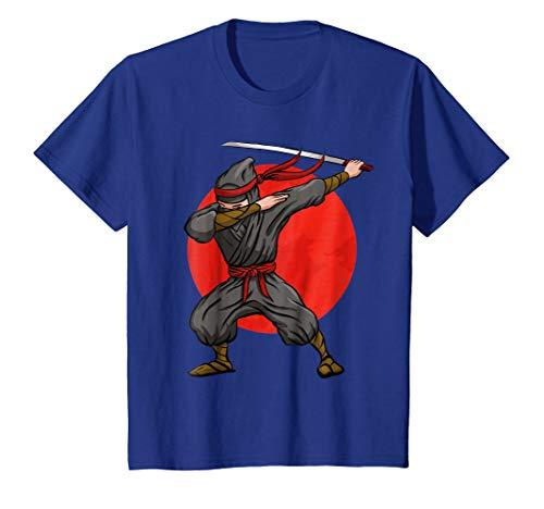 Kids Dabbing Ninja T-Shirt Funny Martial Arts Halloween Dab Tee 12 Royal Blue