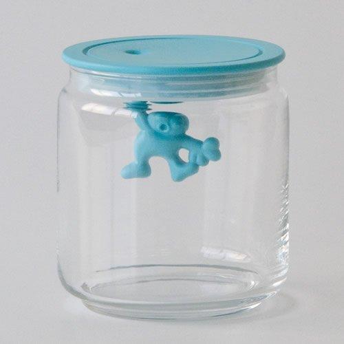 A di Alessi Gianni Jarra de vidrio de 3 tazas con tapa de plástico, azul aguamarina