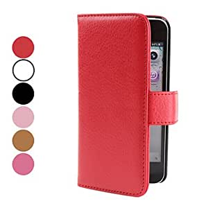 YXF Litchi Grain PU Leather Case with Card Slot for iPhone 5 (Assorted Colors) , Rose