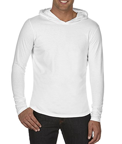 Comfort Colors Adult Long-Sleeve Hooded T-Shirt. 4900 White M