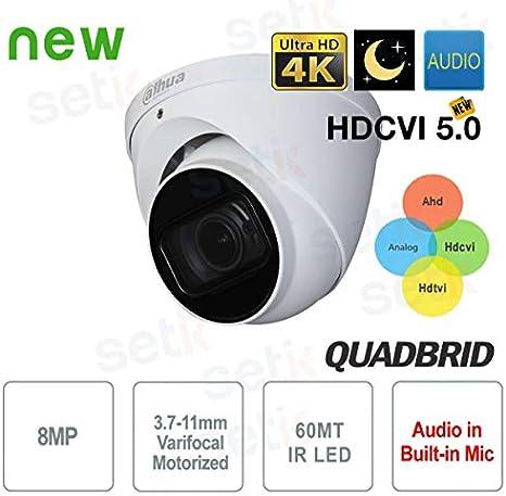 Dahua Technology/ /Cam/éra Dahua 8/MP 4/K D/ôme Motoris/ée Starlight Audio/ /hac-hdw2802t-z-a