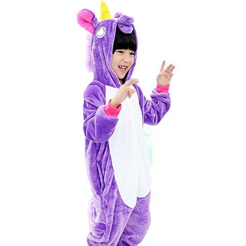 Sensfun Kids Animal Onesie Flannel One Piece Unicorn Pajamas Toilet Version Costume Cosplay for Boys/Girls(Purple Pegasus 6-7Years) ()