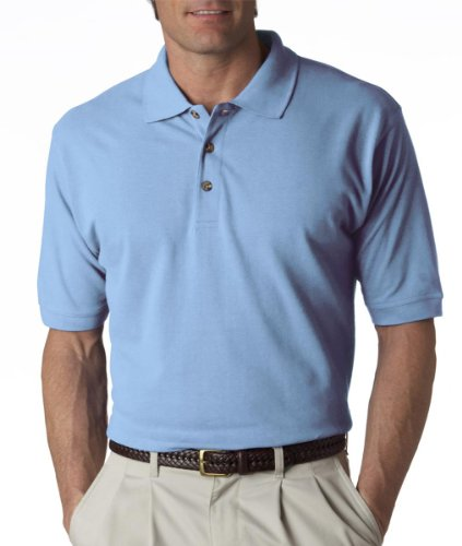 UltraClub Men's Relaxed Fit Taped Neck Pique Polo Shirt, X Large, Baby Blue
