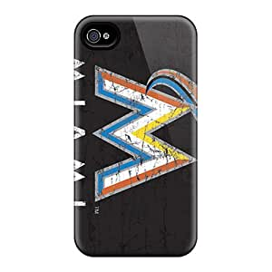 Scratch Protection Hard Phone Cover For Iphone 4/4s With Allow Personal Design HD Miami Marlins Pattern KennethKaczmarek