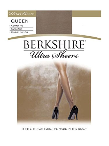 Open Pantyhose Elegance Toe - Berkshire Women's Plus-Size Queen Size Ultra Sheer Pantyhose - 4411, Stone, 3X-4X