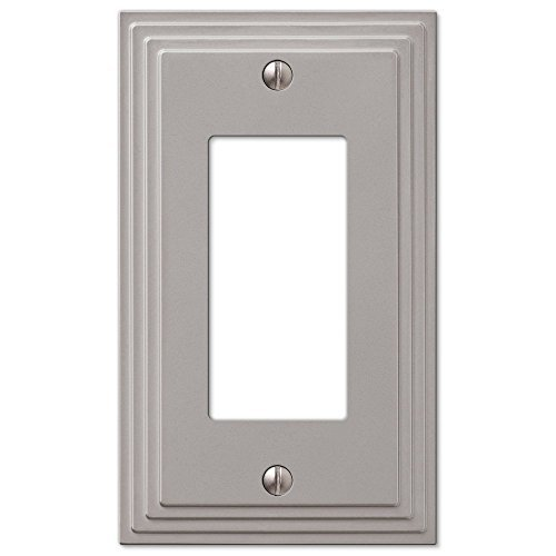 Step Design GFCI Decora Rocker Wall Switch Plate Outlet Cover - Satin Nickel