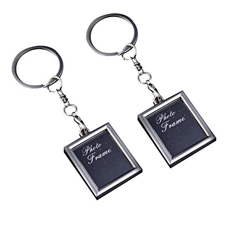 Alasida 2Pcs Creative Key Ring Metal Keychain Key Holder with Buckle Insert Photo Picture Frame