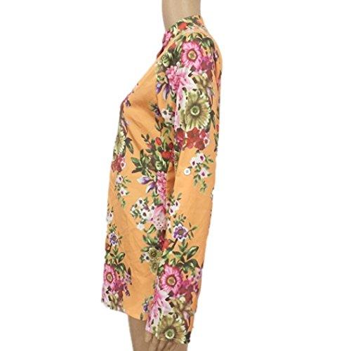 Tunika Gelb Locker V Tops Damen Tops Blumendruck Tops RöCke Challeng Damen Shirt Shirt Damen Damen Ausschnitt Oberteil T Ausschnitt Size Sommer Lange Damen Ärmel V Sommer Vintage Plus F4FpCZ