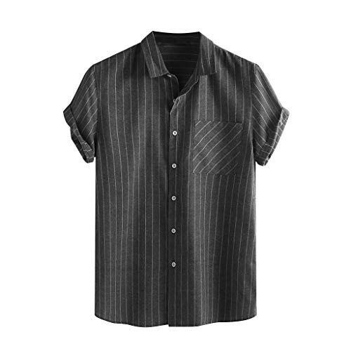Men's Button Down Shirts Short Sleeve Vertical Stripes Lapel Front Pocket Soft Linen Sumemr Beach T-Shirts by URIBAKE Black