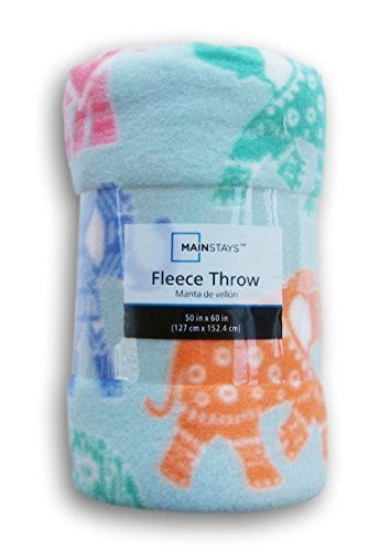 Elephant Patterned Fleece Throw Blanket - 50in X 60in