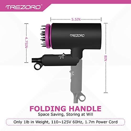 Professional Ionic Portable Folding Hair Dryer, Best 1500W Ceramic Tourmaline Blow Dryer with comb attachment, Compact Small Size Lightweight for Travel, Quiet Mini Hairdryer – Deluxe Soft Touch Body by TREZORO (Image #3)