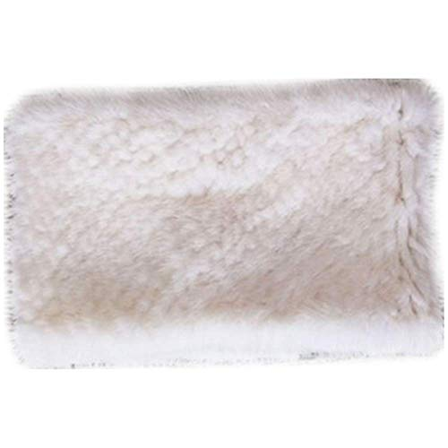 MH Bailment Winter mink fur Knit Neck Warmer Real Fur Headbands Women scarf (50cm14cm, White)