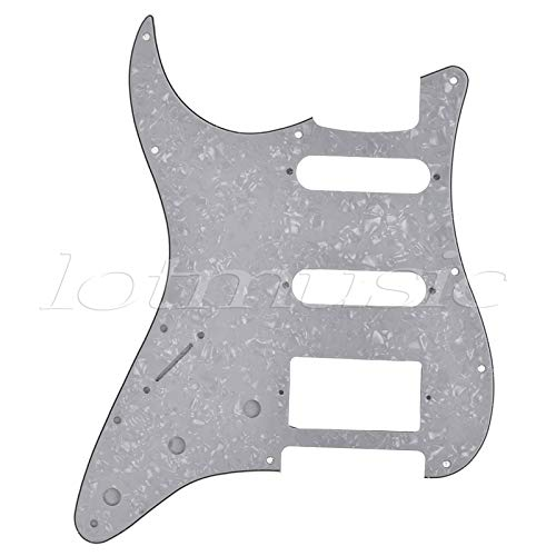 Left Handed Lefty Electric Guitar Pickguard Scratch Plate for Fender Strat Parts HSS White Pearl 3 Ply ()