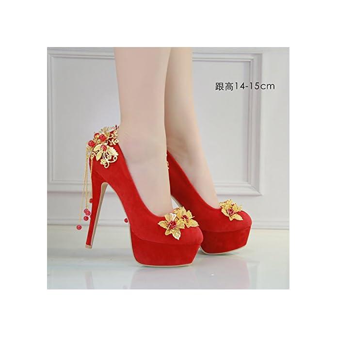 Jingxinstore Donne nbsp;scarpe nbsp;da nbsp;sposa nbsp;rosso nbsp;raso nbsp;scarpe nbsp;da nbsp;sposa 14-15cm Uk 3 5