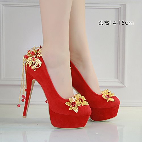 JINGXINSTORE Femmes chaussures de mariage rouge chaussures de mariée en satin, 14-15cm, UK 2.5