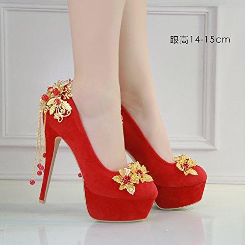 mujer sat JINGXINSTORE de Zapatos de Zapatos rojo boda 1q67E6w
