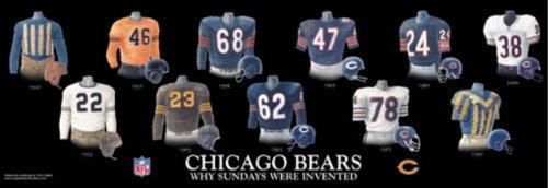 Framed Evolution History Chicago Bears Uniforms Print