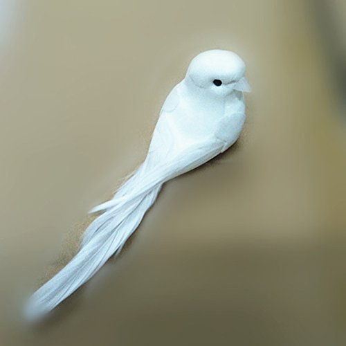 YOTHG Carft Pigeon Artificial Foam Feather White Pigeon Fake Bird For Home Wedding Decor (White)