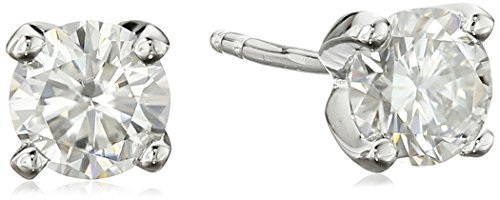 Platinum over Sterling Silver VG Moissanite 5mm Stud Earrings by Amazon Collection