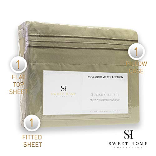 1500 Supreme Collection Extra Soft Twin XL Sheets Set, Sage - Luxury Bed Sheets Set with Deep Pocket Wrinkle Free Hypoallergenic Bedding, Over 40 Colors, Twin XL Size, Sage