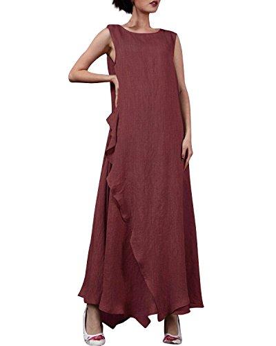 Casual Lungo Girocollo Lino Sexy 2 senza Elegante Donna StyleDome Bordeaux Vestito Manica Asimmetrico Maxi wXF6xcq5C