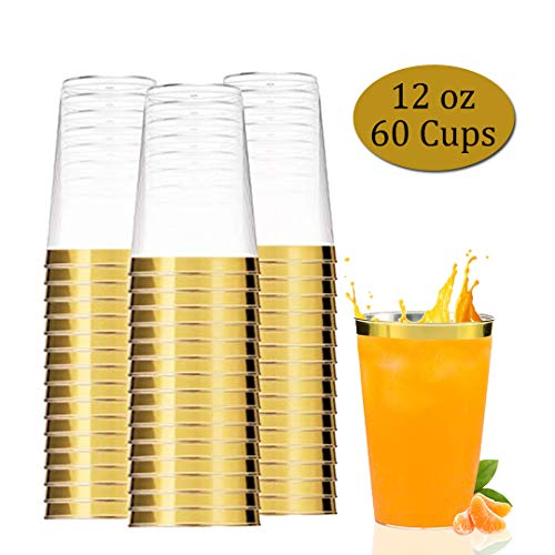 60 Plastic Cups, Gold Clear Plastic Tumbler, 12 oz Disposable Party Plastic Glasses -