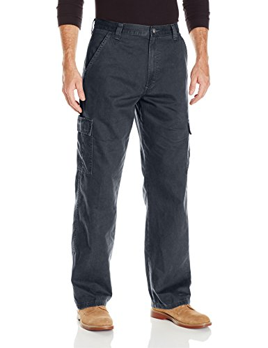 Wrangler Authentics Men's Classic Twill Relaxed Fit Cargo Pant, Navy Ripstop, 34 x 32 (Pocket Mens Cargo Pants)