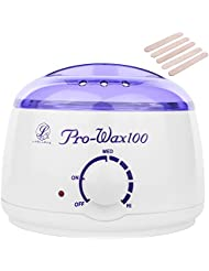 Wax Warmer,LuolLove Electric Mini Wax Melting Pot Professional at Home Hard Waxing Kit for Hair removal, with Adjustable Temperature Knob and AUTO Function (Pro Wax 100)