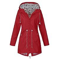 Womens Raincoat Outdoor Hoodie Waterproof Hooded Windproof Jacket